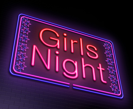nightclub bar: Illustration depicting an illuminated neon sign with a girls night concept.