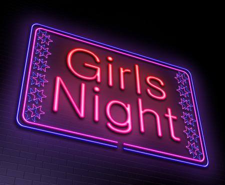 Ilustración que muestra un letrero de neón iluminado con un concepto de noche de las muchachas.