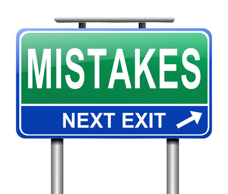 flaw: Illustration depicting a road sign with a mistakes concept. Stock Photo