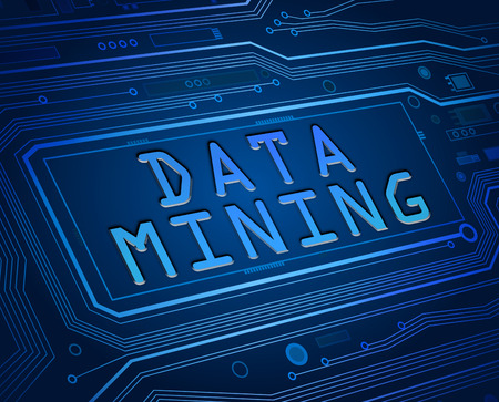 Abstract style illustration depicting printed circuit board components with a data mining concept. illustration