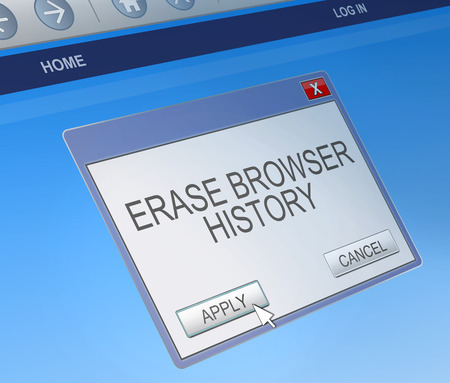 Illustration depicting a computer dialogue box with a delete browsing history concept.