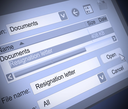 resign: Illustration depicting a computer screen shot with a resignation letter concept.