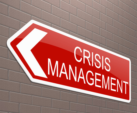 threat: Illustration depicting a sign with a crisis management concept.