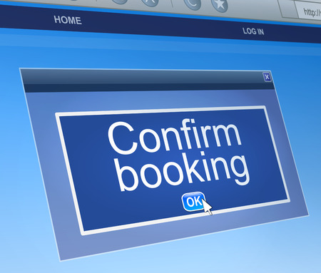 Illustration depicting a computer dialogue box with a confirm booking concept.