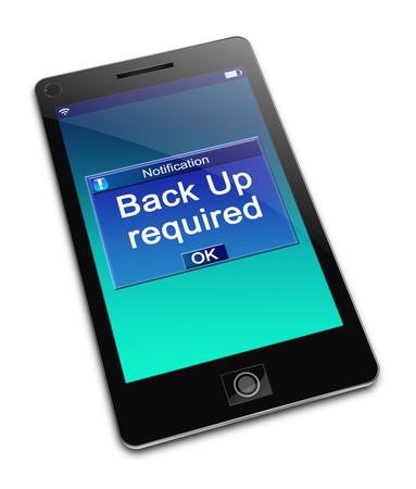 backing up: Illustration depicting a phone with a Back Up concept.