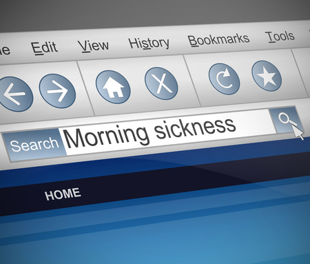 Illustration depicting a screen shot of a morning sickness  internet search.