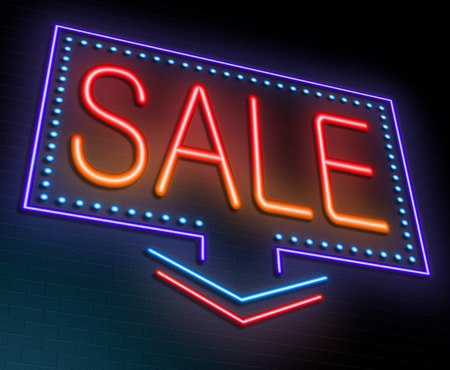 neon lights: Illustration depicting an illuminated neon sign with a sale concept. Stock Photo