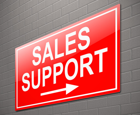 finance department: Illustration depicting a sign with a sales support concept.