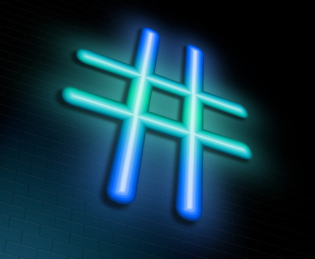 tagging: Illustration depicting an illuminated neon sign with a hashtag symbol concept.