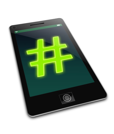 tweeting: Illustration depicting a phone with a hashtag concept. Stock Photo