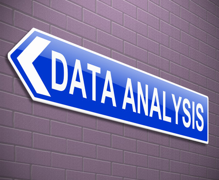 evaluating: Illustration depicting a sign with a data analysis concept.