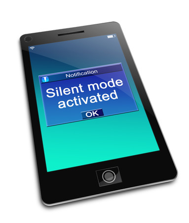 ringtone: Illustration depicting a phone with a silent mode concept. Stock Photo