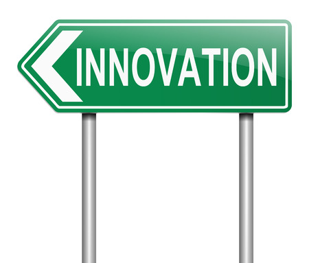 novelty: Illustration depicting a sign with an innovation concept. Stock Photo
