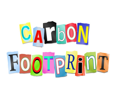 Illustration depicting a set of cut out printed letters arranged to form the words carbon footprint. illustration
