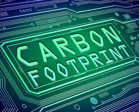 Abstract style illustration depicting printed circuit board components with a carbon footprint concept. illustration