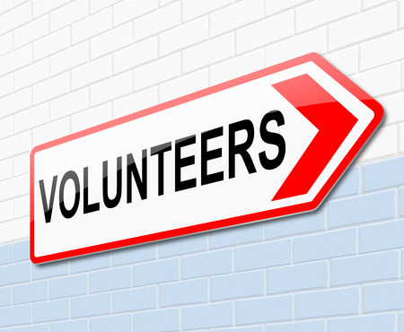 enlist: Illustration depicting a sign with a volunteers concept.