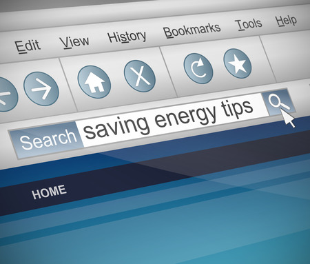 Illustration depicting a screenshot of an internet search with a saving energy concept.