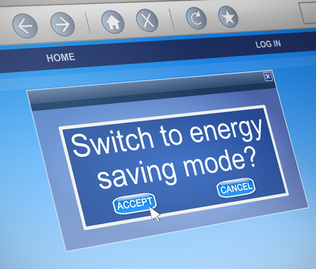 mode: Illustration depicting a computer dialogue box with an energy saving mode concept.