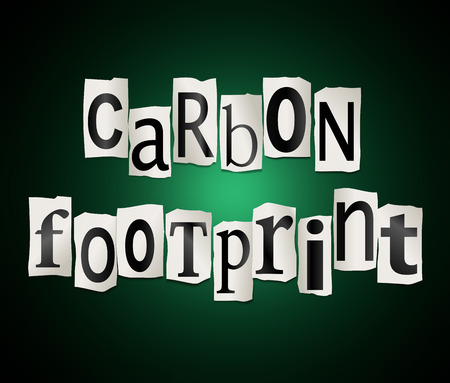 Illustration depicting a set of cut out printed letters arranged to form the words carbon footprint. Stock Photo