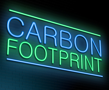 Illustration depicting an illuminated neon sign with a carbon footprint concept. Stock Photo