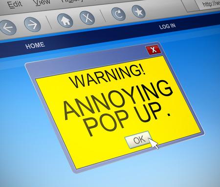 molesto: Ilustración que muestra un cuadro de diálogo con un ordenador molestos pop concepto. Foto de archivo