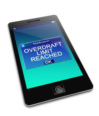 overdraft: Illustration depicting a phone with an overdraft concept. Stock Photo