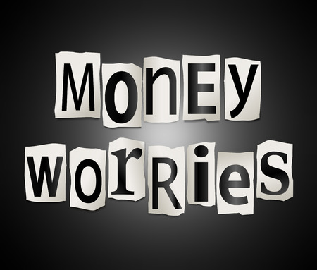 worries: Illustration depicting a set of cut out printed letters arranged to form the words money worries.