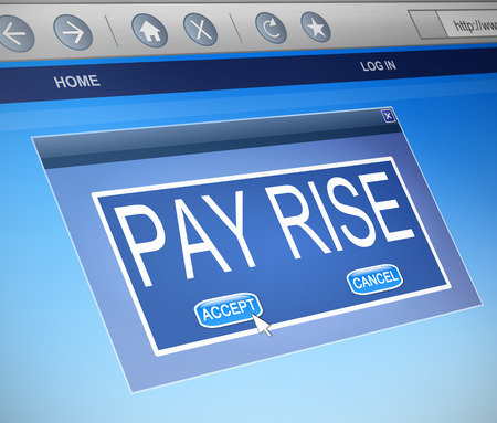 Illustration depicting a computer dialogue box with a pay rise concept.