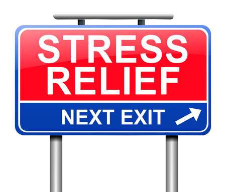 trauma: Illustration depicting a sign with a stress relief concept.