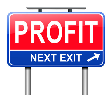 takings: Illustration depicting a sign with a profit concept. Stock Photo