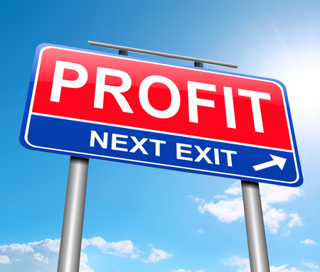 proceeds: Illustration depicting a sign with a profit concept. Stock Photo