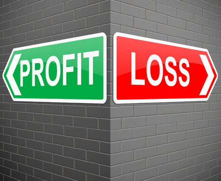 proceeds: Illustration depicting signs with a profit or loss concept.