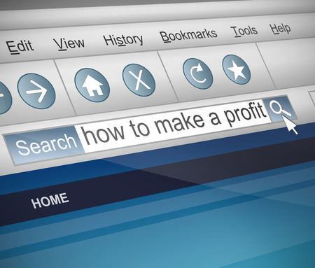 takings: Illustration depicting a screenshot of an internet search with a profit concept. Stock Photo