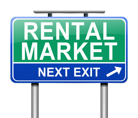 let on: Illustration depicting a sign with a rental market concept.