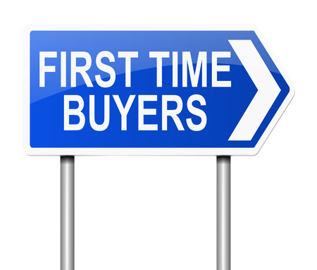 first home: Illustration depicting a sign with a first time buyers concept.