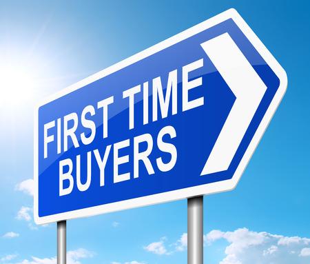 Die Illustration zeigt ein Schild mit einem Erstkäufer Konzept. Standard-Bild