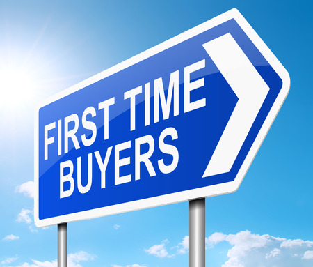 home owner: Illustration depicting a sign with a first time buyers concept.