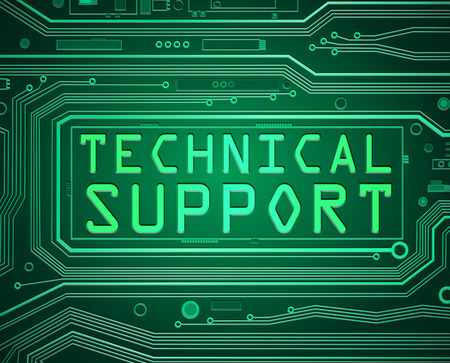troubleshoot: Abstract style illustration depicting printed circuit board components with a technical support concept. Stock Photo