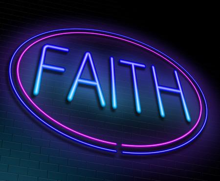 fidelidad: Ilustración que muestra un letrero de neón iluminado con un concepto de fe.