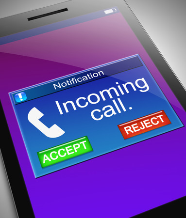 Ilustración que muestra un teléfono con un concepto de la llamada entrante.