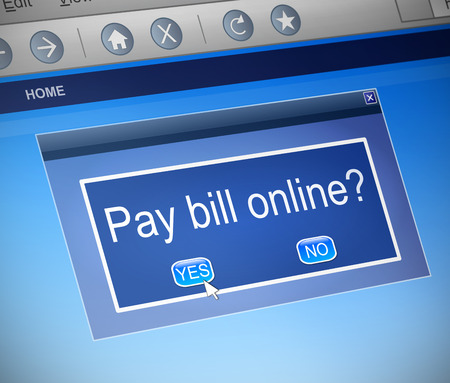 pay bill: Illustration depicting a computer dialogue box with an online payment concept.