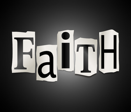 believing: Illustration depicting a set of cut out printed letters arranged to form the word faith. Stock Photo
