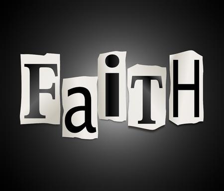 fidelidad: Ilustración que muestra un conjunto de recortar letras impresas dispuestos a formar la palabra fe.