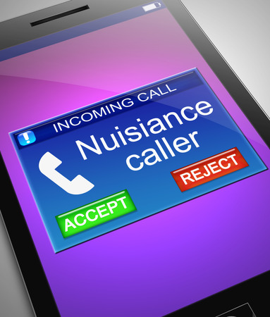 Illustration depicting a phone with a nuisance caller concept.