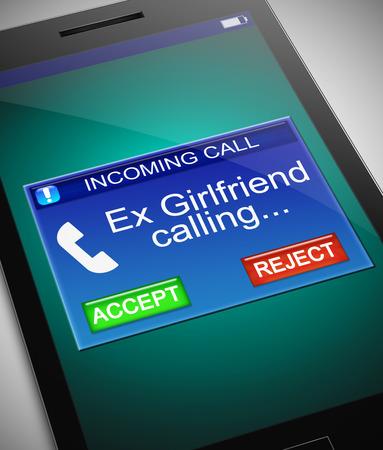 元彼との電話を描いたイラストのガール フレンドの呼び出し元の概念。