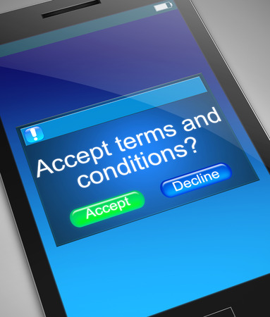 accept: Illustration depicting a phone with a terms and conditions concept. Stock Photo