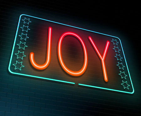 glee: Illustration depicting an illuminated neon sign with a joy concept. Stock Photo