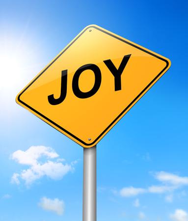 elation: Illustration depicting a sign with a joy concept.