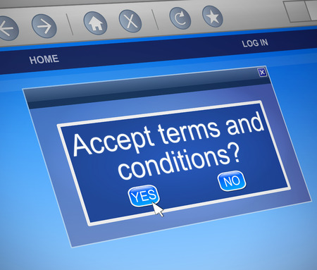 accept: Illustration depicting a computer dialogue box with a terms and conditions concept.