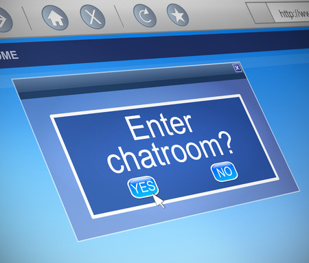 chat room: Illustration depicting a computer dialogue box with a chatroom concept.